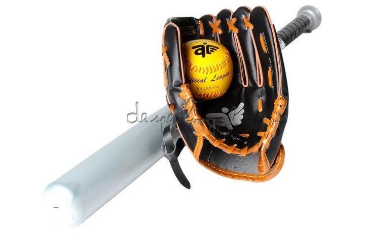 80025 Honkbal bat, handschoen en bal in draagtas