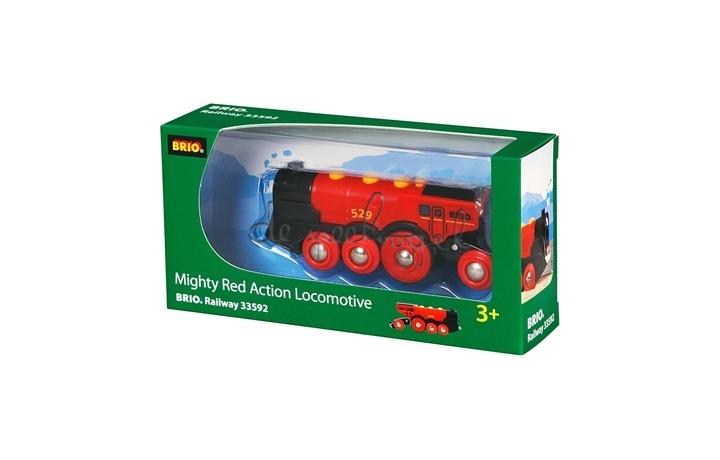 33592 krachtige rode locomotief