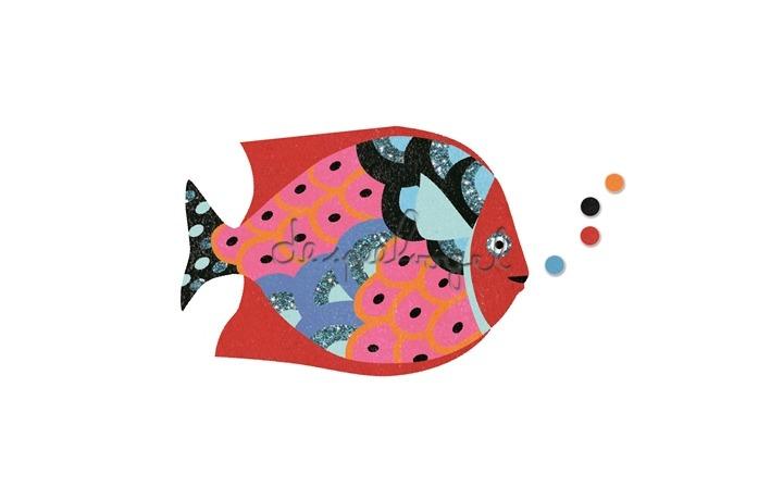 DJ08661 Gekleurd glitterzand regenboogvis