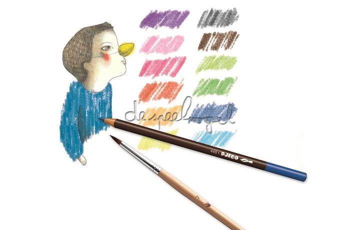 DJ08824 12 aquarelpotloden basiskleuren