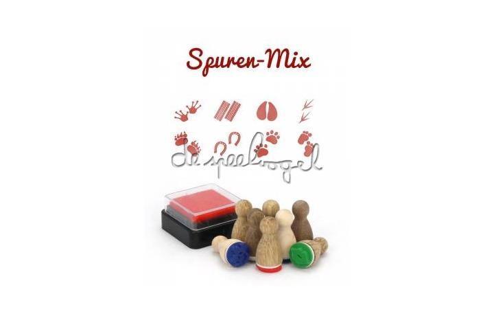 Sporen mix 8 ministempels met stempelkussen