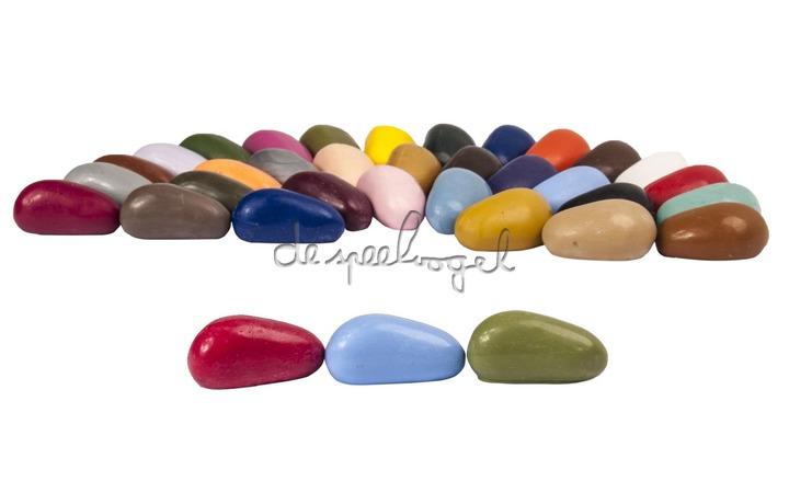 Crayon rocks, ecru katoenen zakje met 32 kleuren