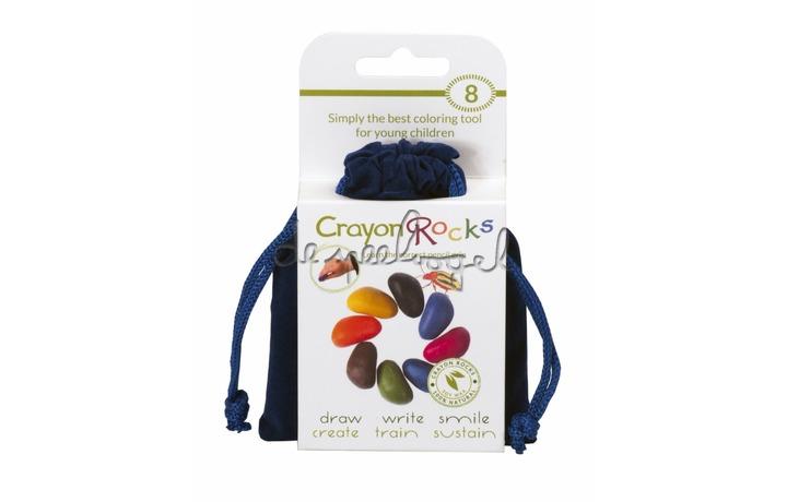 Crayon rocks, blauw fluwelen zakje met 8 kleuren