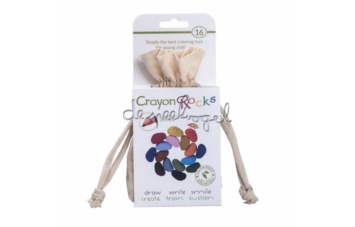 Crayon rocks, ecru katoenen zakje met 16 kleuren