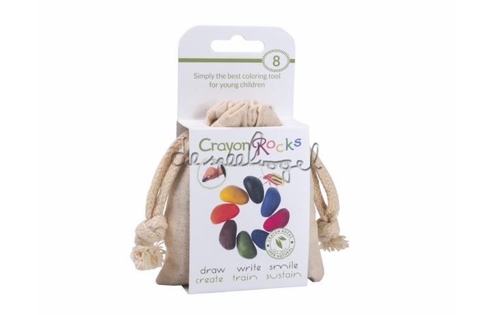 Crayon rocks, ecru katoenen zakje met 8 kleuren