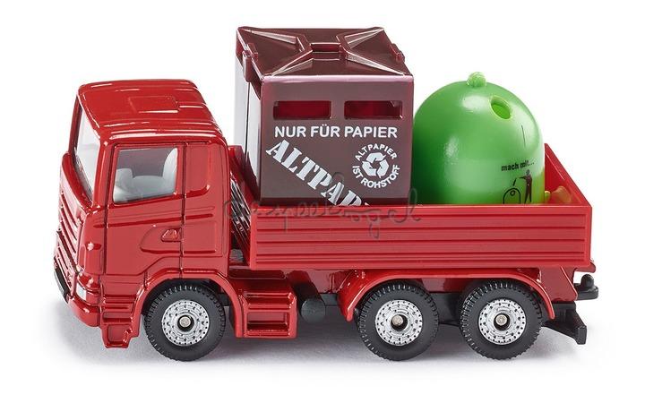 828 Vrachtwagen met recyclage containers