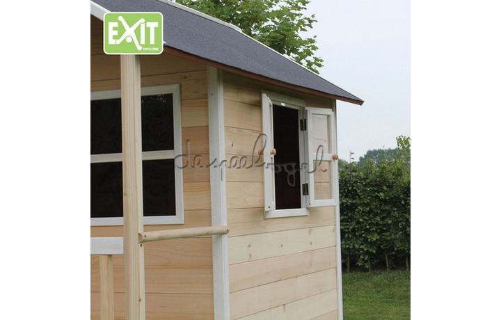 EXIT Houten Speelhuisje Loft 500 Naturel/Groen/Rood (FSC 100%) /op bestelling