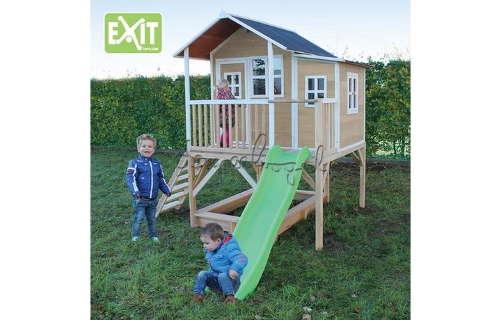 EXIT Houten Speelhuisje Loft 550 Naturel/Groen/Rood (FSC 100%) /op bestelling