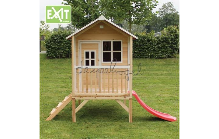 EXIT Houten Speelhuisje Loft 300 Naturel/Groen/Rood (FSC 100%) /op bestelling
