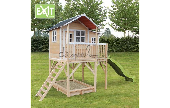 EXIT Houten Speelhuisje Loft 750 Naturel/Groen/Rood (FSC 100%) /op bestelling