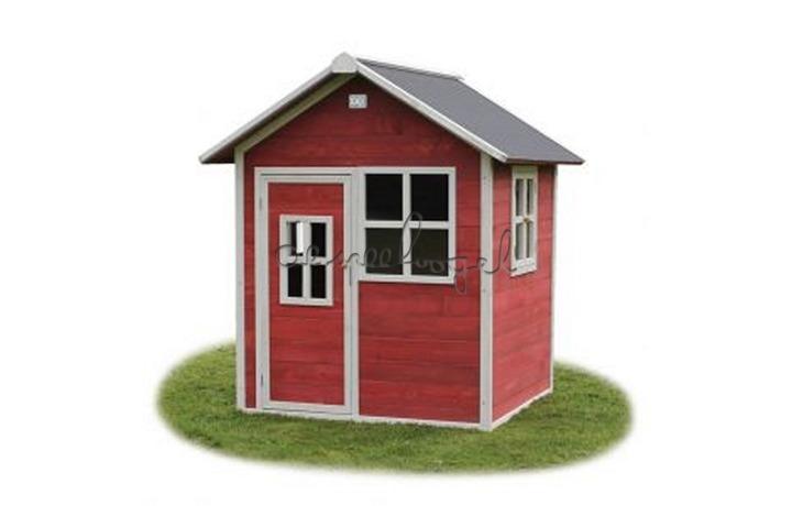 EXIT Houten Speelhuisje Loft 100 Naturel/Groen/Rood (FSC 100%) /op bestelling