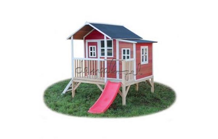 EXIT Houten Speelhuisje Loft 350 Naturel/Groen/Rood (FSC 100%) /op bestelling