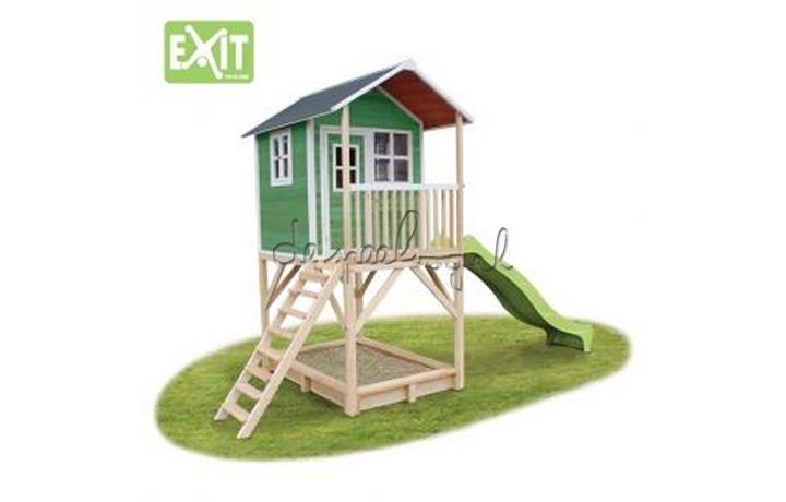 EXIT Houten Speelhuisje Loft 700 Naturel/Groen/Rood (FSC 100%) /op bestelling