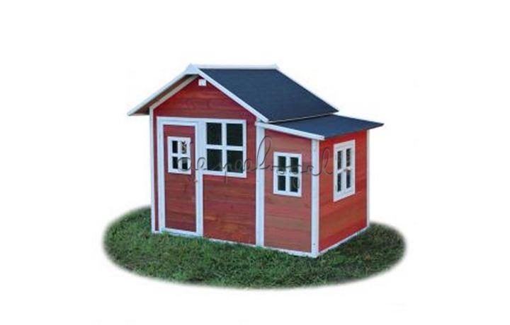 EXIT Houten Speelhuisje Loft 150 Naturel/Groen/Rood (FSC 100%) /op bestelling