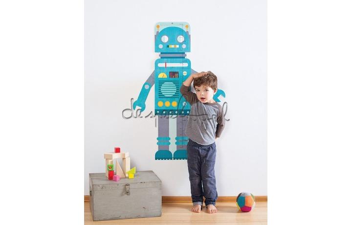 5074740 Groeimeter Robot blauw, 40-135 cm
