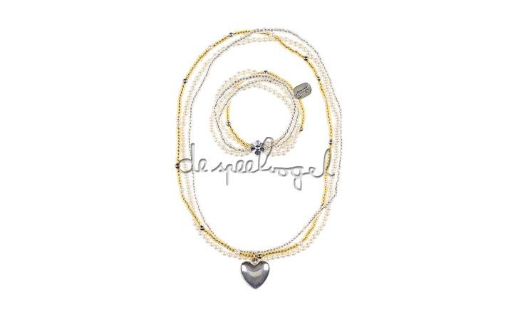 104449 Halsketting + Armband Liv, heart goud-silver