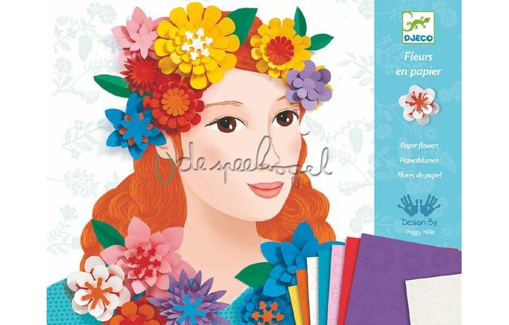 DJ09439 Jeunes filles en fleurs, papieren bloemen