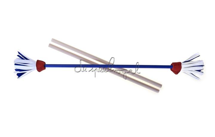 515761 Acrobat Flower Stick BLAUW, red/white/blue flower + handstokken