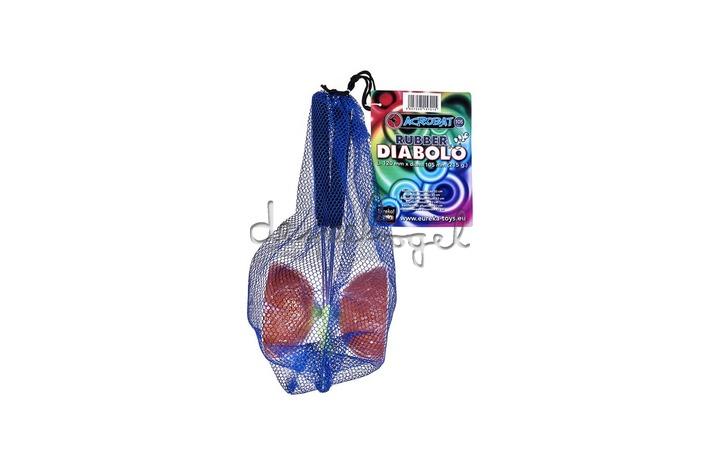 515701 Acrobat Rubber Diabolo Oranje + aluminum handstokken