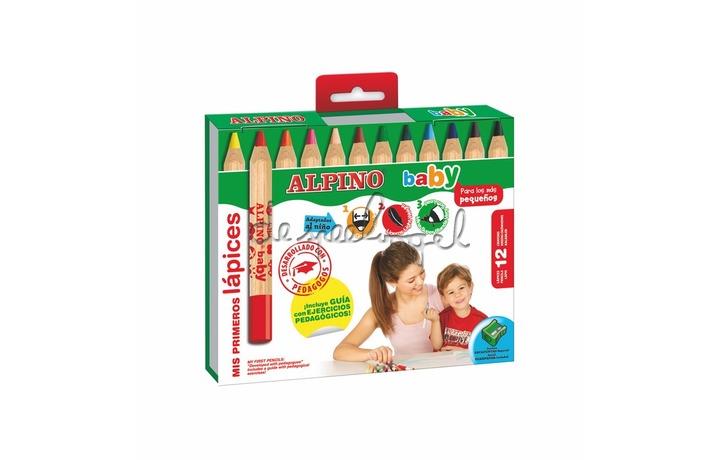 510800 Doosje 12 kleurpotloden Alpino Baby