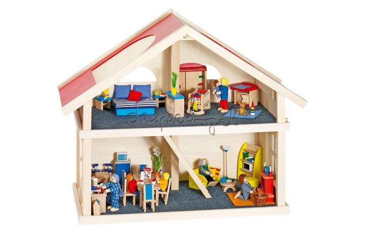 8651961 Poppenhuis:2ETAGENHUISL65xB35xH63cm,zondermeubels