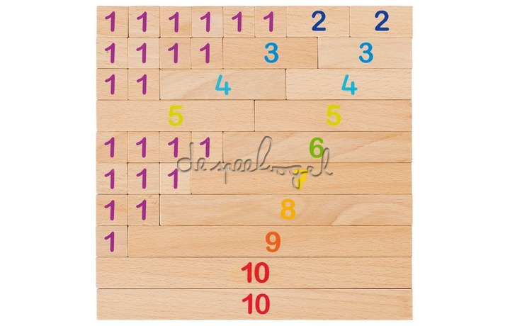 8658535 REKENSTAVEN, 10 = 24x1x2cm, 36-delig, hout
