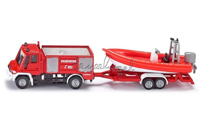 1636 Unimog brandweer met aanhangwagen en boot