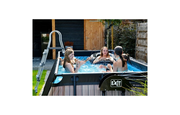 30.12.42.00 EXIT Frame Pool 4x2x1m – Stone Grey/Timber Style