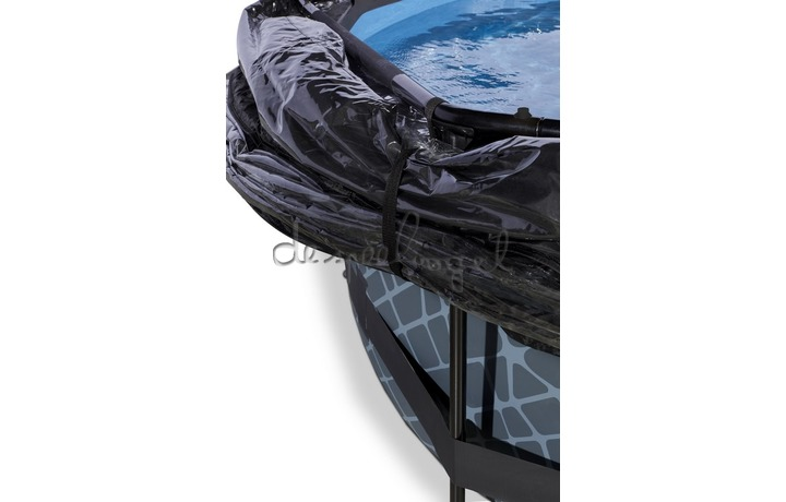30.32.12.00 EXIT Frame Pool ø360x76cm – Stone Grey + Overkapping