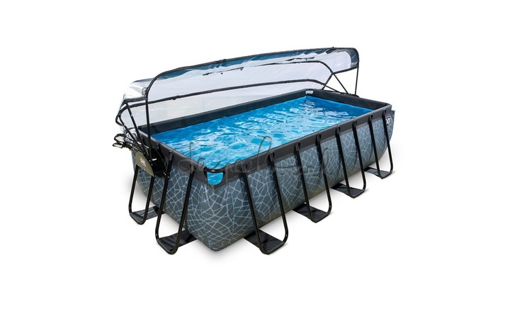 30.37.42.00 EXIT Frame Pool 4x2x1m Premium – Stone Grey/Timber Style + Overkapping