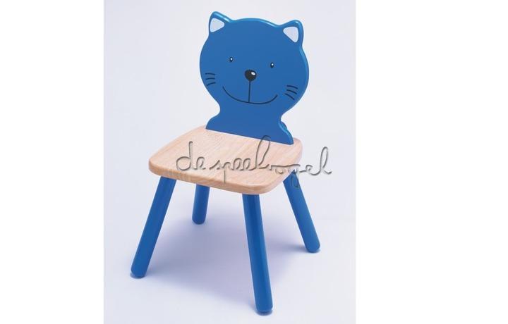 99231 Houten stoel Poes - blauw
