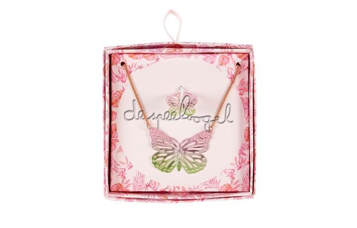 105505 Cadeaudoosje Ketting + ring vlinder