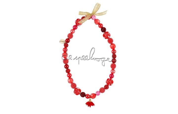 105714 Ketting Mirianne, rood, bloemen